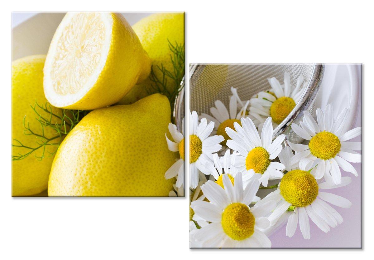 Модульная картина «Лимоны и ромашки»Натюрморт<br>Модульная картина на натуральном холсте и деревянном подрамнике. Подвес в комплекте. Трехслойная надежная упаковка. Доставим в любую точку России. Вам осталось только повесить картину на стену!<br>