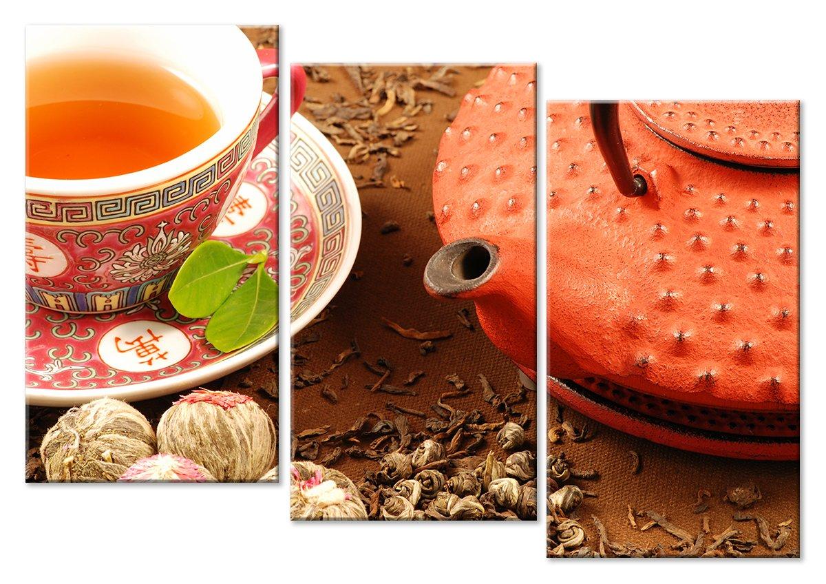 Модульная картина «Китайский чай»Натюрморт<br>Модульная картина на натуральном холсте и деревянном подрамнике. Подвес в комплекте. Трехслойная надежная упаковка. Доставим в любую точку России. Вам осталось только повесить картину на стену!<br>