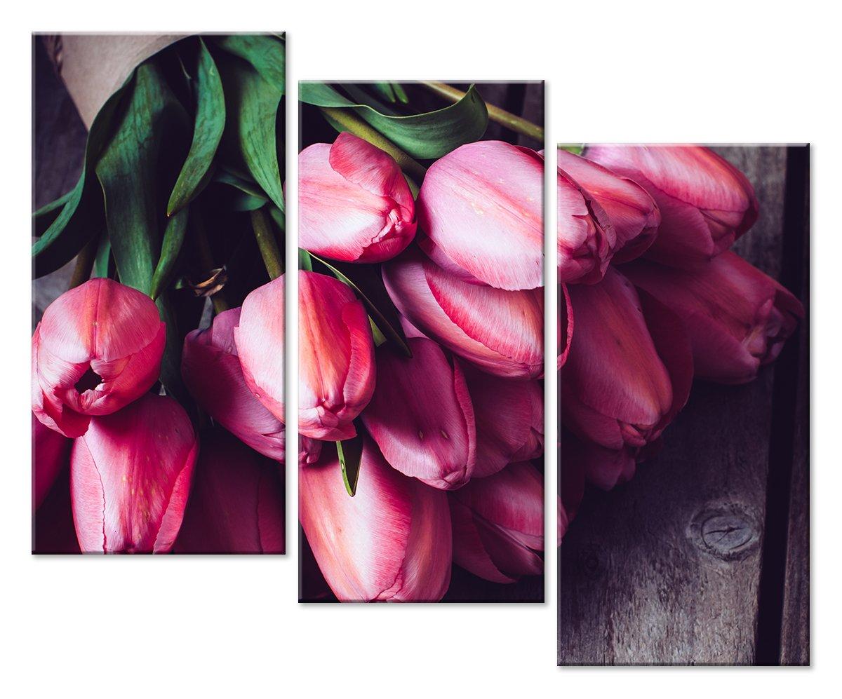 Модульная картина «Букет тюльпанов»Цветы<br>Модульная картина на натуральном холсте и деревянном подрамнике. Подвес в комплекте. Трехслойная надежная упаковка. Доставим в любую точку России. Вам осталось только повесить картину на стену!<br>