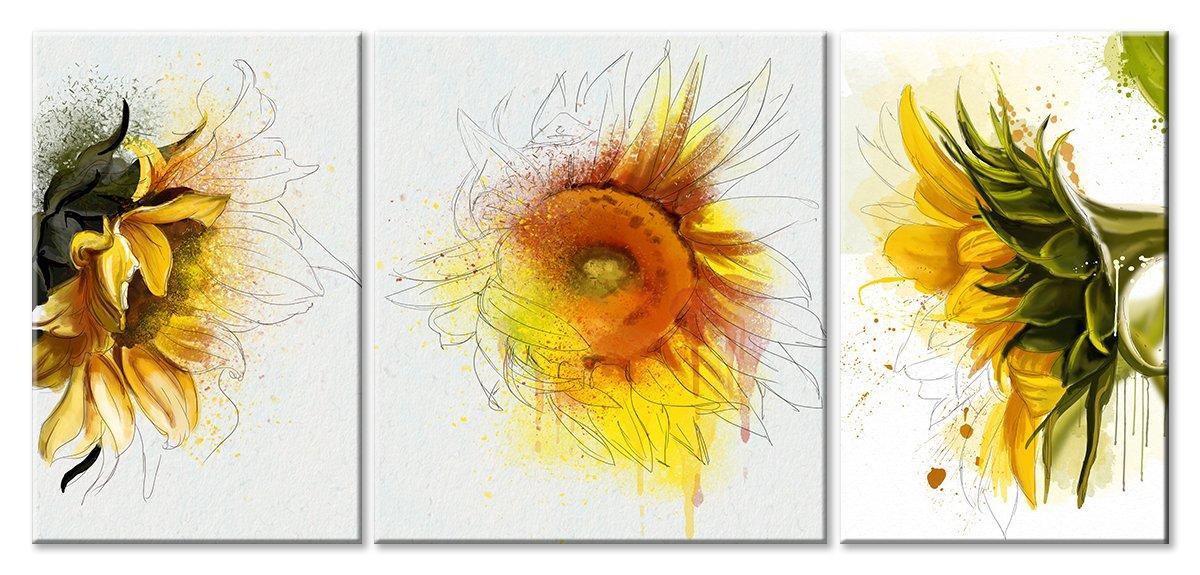 Модульная картина «Три рисунка подсолнуха»Цветы<br>Модульная картина на натуральном холсте и деревянном подрамнике. Подвес в комплекте. Трехслойная надежная упаковка. Доставим в любую точку России. Вам осталось только повесить картину на стену!<br>