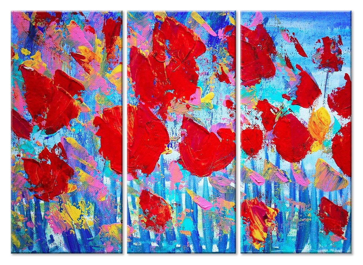 Модульная картина «Маковое поле»Цветы<br>Модульная картина на натуральном холсте и деревянном подрамнике. Подвес в комплекте. Трехслойная надежная упаковка. Доставим в любую точку России. Вам осталось только повесить картину на стену!<br>