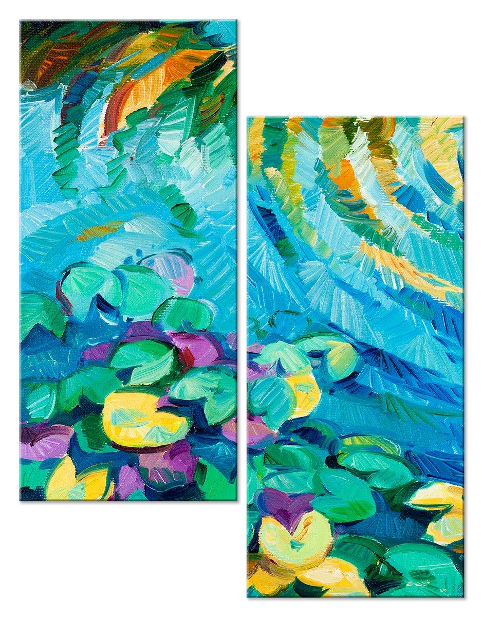 Модульная картина «На поверхности воды»Цветы<br>Модульная картина на натуральном холсте и деревянном подрамнике. Подвес в комплекте. Трехслойная надежная упаковка. Доставим в любую точку России. Вам осталось только повесить картину на стену!<br>