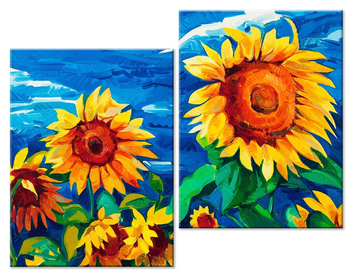 Модульная картина «Желтые подсолнухи и небо»Цветы<br>Модульная картина на натуральном холсте и деревянном подрамнике. Подвес в комплекте. Трехслойная надежная упаковка. Доставим в любую точку России. Вам осталось только повесить картину на стену!<br>
