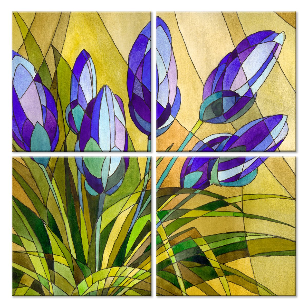 Модульная картина «Цветочный витраж»Цветы<br>Модульная картина на натуральном холсте и деревянном подрамнике. Подвес в комплекте. Трехслойная надежная упаковка. Доставим в любую точку России. Вам осталось только повесить картину на стену!<br>