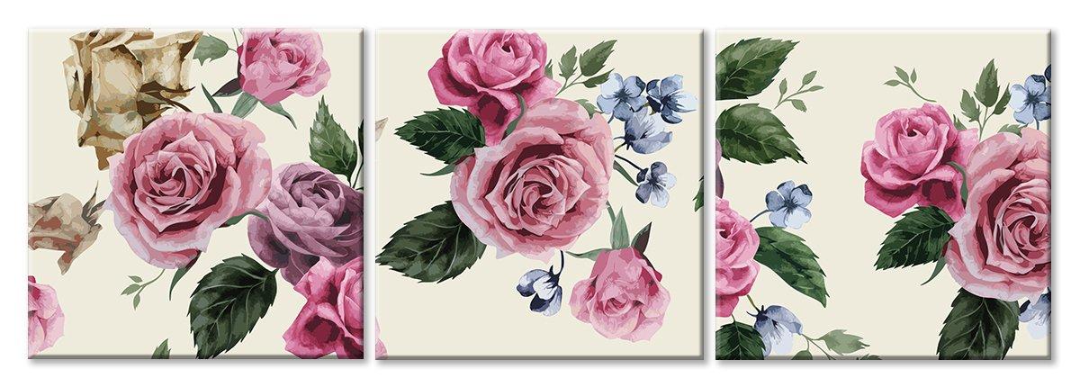 Модульная картина «Орнамент из роз»Цветы<br>Модульная картина на натуральном холсте и деревянном подрамнике. Подвес в комплекте. Трехслойная надежная упаковка. Доставим в любую точку России. Вам осталось только повесить картину на стену!<br>