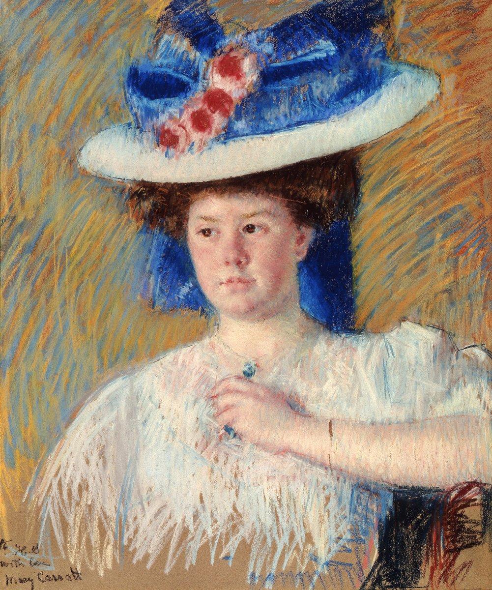 Картины пастелью, картина Кассат Мери «Женщина в большой шляпе»Картины пастелью<br>Репродукция на холсте или бумаге. Любого нужного вам размера. В раме или без. Подвес в комплекте. Трехслойная надежная упаковка. Доставим в любую точку России. Вам осталось только повесить картину на стену!<br>