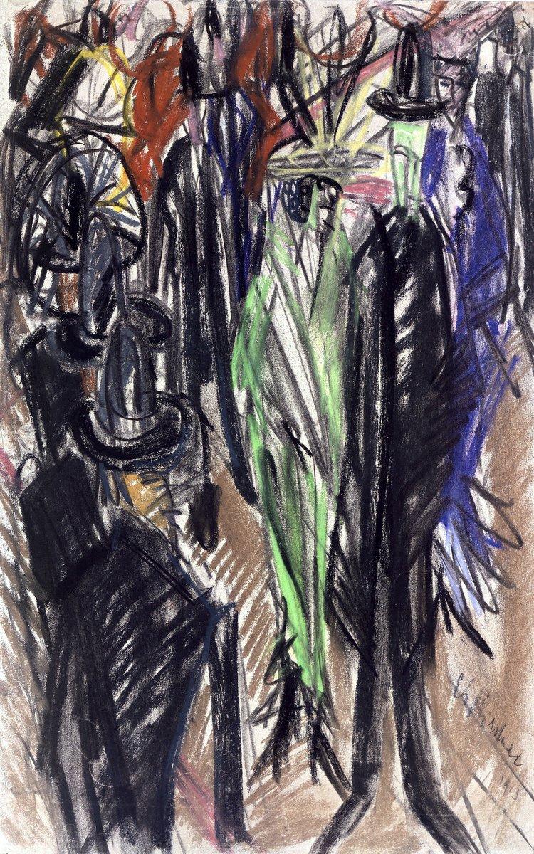 Картины пастелью, картина Кирхнер Людвиг «Уличная сцена с дамой в зеленом»Картины пастелью<br>Репродукция на холсте или бумаге. Любого нужного вам размера. В раме или без. Подвес в комплекте. Трехслойная надежная упаковка. Доставим в любую точку России. Вам осталось только повесить картину на стену!<br>