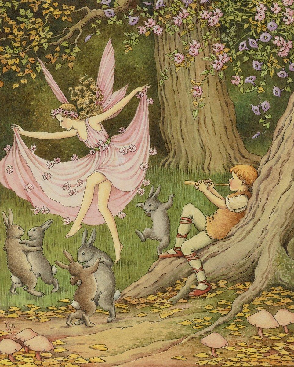 Искусство, картина Рентул-Аутуэйт, Айда, Кролики и фея танцуют под музыку флейтиста, 20x25 см, на бумагеСказка в живописи и графике<br>Постер на холсте или бумаге. Любого нужного вам размера. В раме или без. Подвес в комплекте. Трехслойная надежная упаковка. Доставим в любую точку России. Вам осталось только повесить картину на стену!<br>
