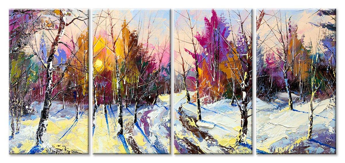 Модульная картина «Зимний лес»Природа<br>Модульная картина на натуральном холсте и деревянном подрамнике. Подвес в комплекте. Трехслойная надежная упаковка. Доставим в любую точку России. Вам осталось только повесить картину на стену!<br>