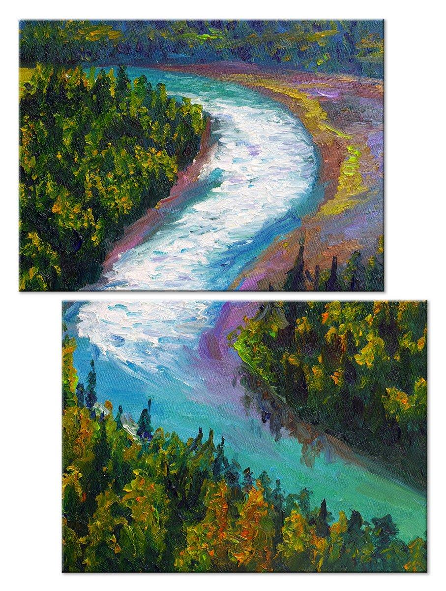 Модульная картина «Река в лесу»Природа<br>Модульная картина на натуральном холсте и деревянном подрамнике. Подвес в комплекте. Трехслойная надежная упаковка. Доставим в любую точку России. Вам осталось только повесить картину на стену!<br>