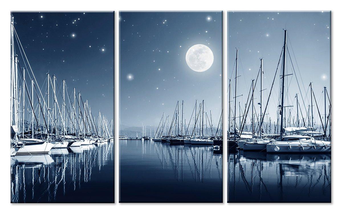 Модульная картина «Порт ночью»Море<br>Модульная картина на натуральном холсте и деревянном подрамнике. Подвес в комплекте. Трехслойная надежная упаковка. Доставим в любую точку России. Вам осталось только повесить картину на стену!<br>