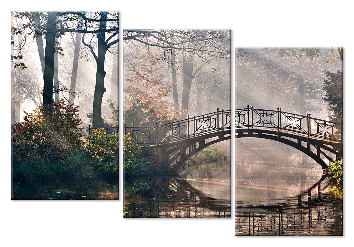 Модульная картина «Мост в старом парке»Природа<br>Модульная картина на натуральном холсте и деревянном подрамнике. Подвес в комплекте. Трехслойная надежная упаковка. Доставим в любую точку России. Вам осталось только повесить картину на стену!<br>