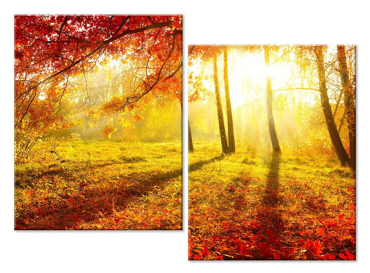 Модульная картина «Солнечный лес осенью»Природа<br>Модульная картина на натуральном холсте и деревянном подрамнике. Подвес в комплекте. Трехслойная надежная упаковка. Доставим в любую точку России. Вам осталось только повесить картину на стену!<br>