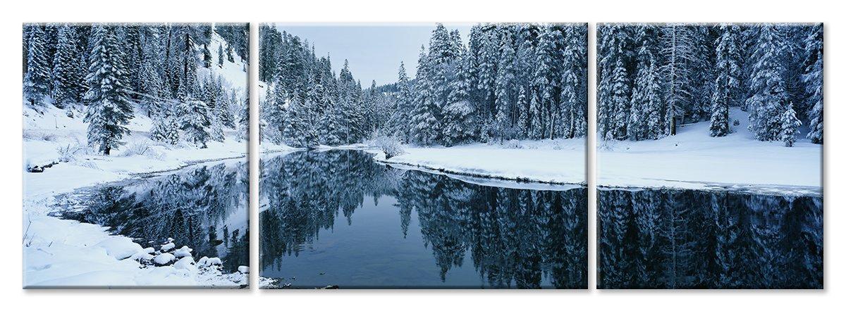 Модульная картина «Зимняя река»Природа<br>Модульная картина на натуральном холсте и деревянном подрамнике. Подвес в комплекте. Трехслойная надежная упаковка. Доставим в любую точку России. Вам осталось только повесить картину на стену!<br>