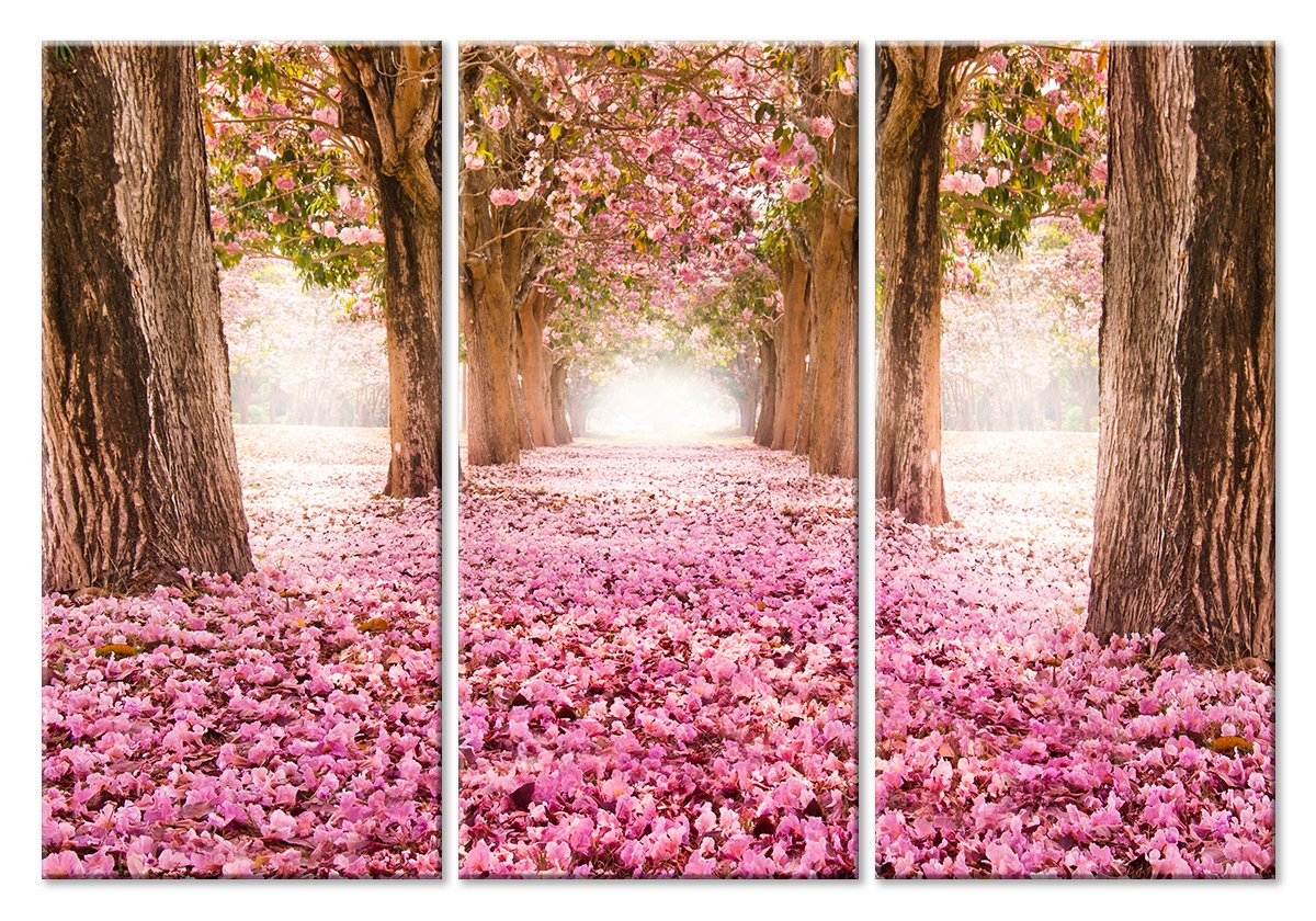 Модульная картина «Розовая дорога»Природа<br>Модульная картина на натуральном холсте и деревянном подрамнике. Подвес в комплекте. Трехслойная надежная упаковка. Доставим в любую точку России. Вам осталось только повесить картину на стену!<br>