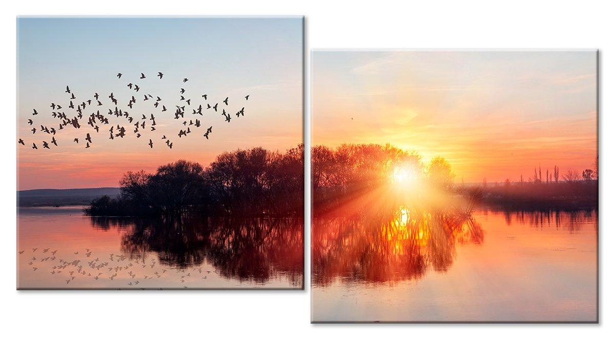 Модульная картина «Перелетные птицы»Природа<br>Модульная картина на натуральном холсте и деревянном подрамнике. Подвес в комплекте. Трехслойная надежная упаковка. Доставим в любую точку России. Вам осталось только повесить картину на стену!<br>