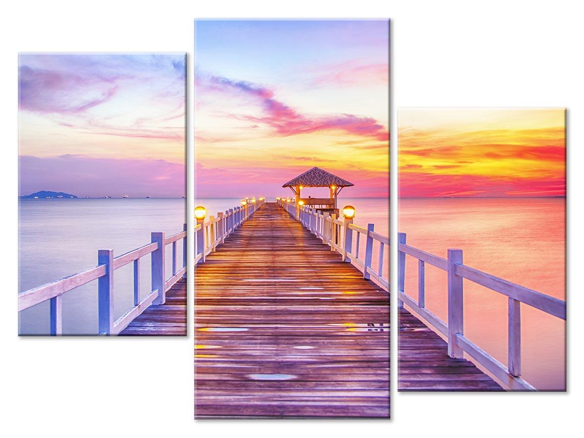 Модульная картина «Причал в фиолетовых красках»Природа<br>Модульная картина на натуральном холсте и деревянном подрамнике. Подвес в комплекте. Трехслойная надежная упаковка. Доставим в любую точку России. Вам осталось только повесить картину на стену!<br>