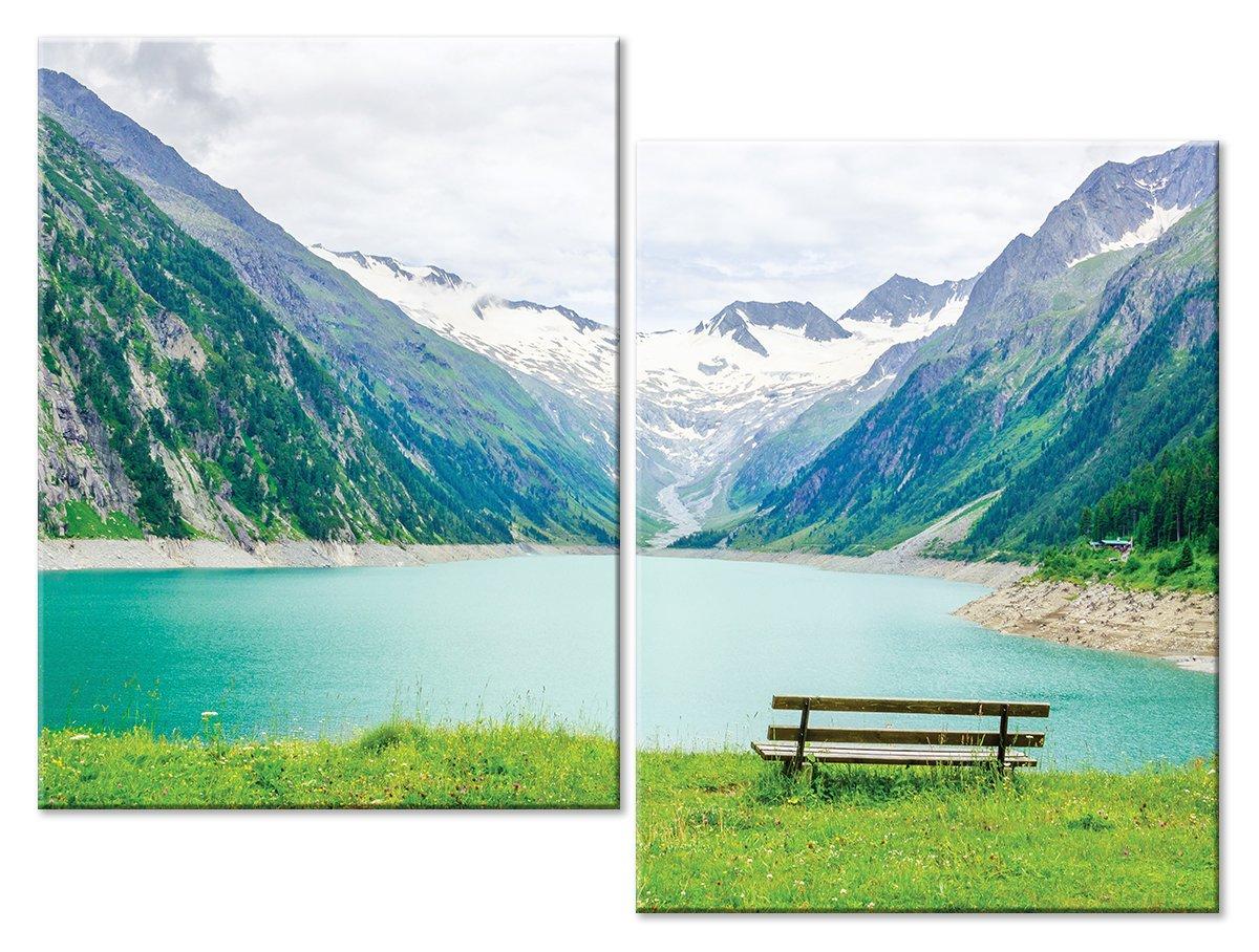 Модульная картина «У горного озера»Природа<br>Модульная картина на натуральном холсте и деревянном подрамнике. Подвес в комплекте. Трехслойная надежная упаковка. Доставим в любую точку России. Вам осталось только повесить картину на стену!<br>
