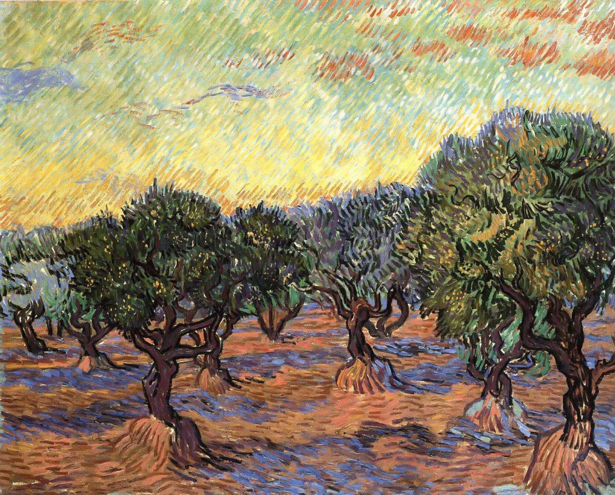 Пленэр, картина Ван Гог Винсент «Оливковые деревья, оранжевое небо»Пленэр<br>Репродукция на холсте или бумаге. Любого нужного вам размера. В раме или без. Подвес в комплекте. Трехслойная надежная упаковка. Доставим в любую точку России. Вам осталось только повесить картину на стену!<br>