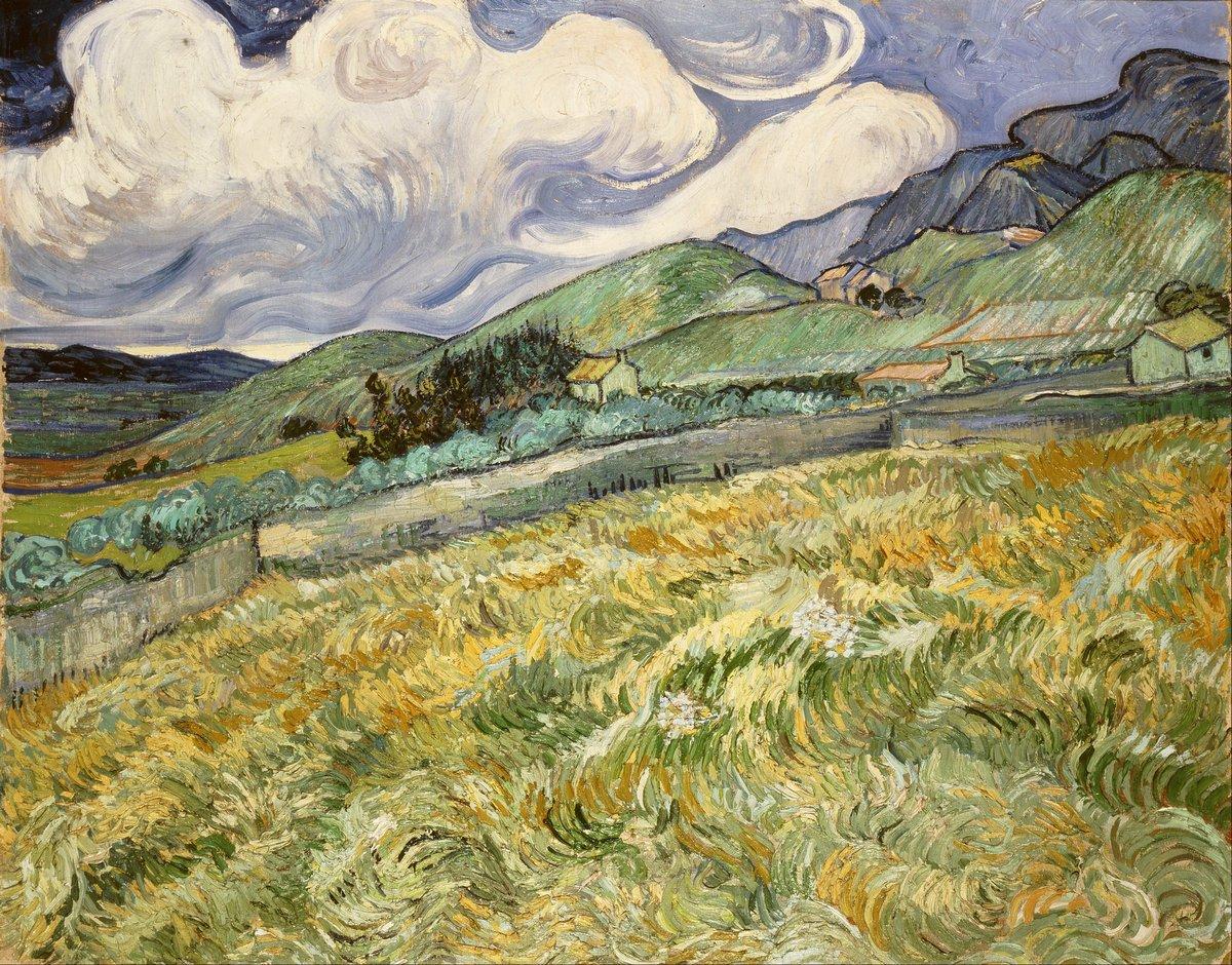 Пленэр, картина Ван Гог Винсент «Пшеничное поле с горами на заднем плане»Пленэр<br>Репродукция на холсте или бумаге. Любого нужного вам размера. В раме или без. Подвес в комплекте. Трехслойная надежная упаковка. Доставим в любую точку России. Вам осталось только повесить картину на стену!<br>