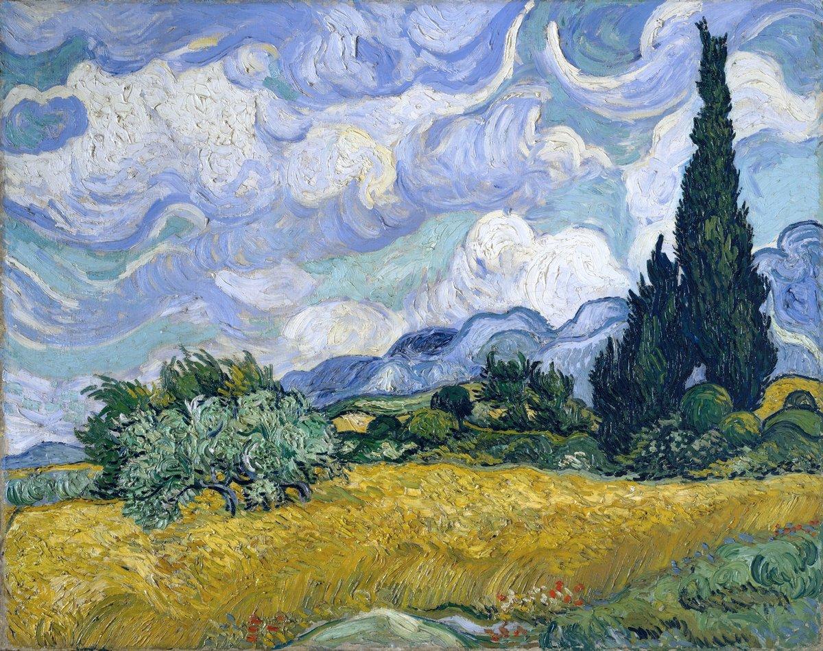 Пленэр, картина Ван Гог Винсент «Пшеничное поле с кипарисами, 1889»Пленэр<br>Репродукция на холсте или бумаге. Любого нужного вам размера. В раме или без. Подвес в комплекте. Трехслойная надежная упаковка. Доставим в любую точку России. Вам осталось только повесить картину на стену!<br>