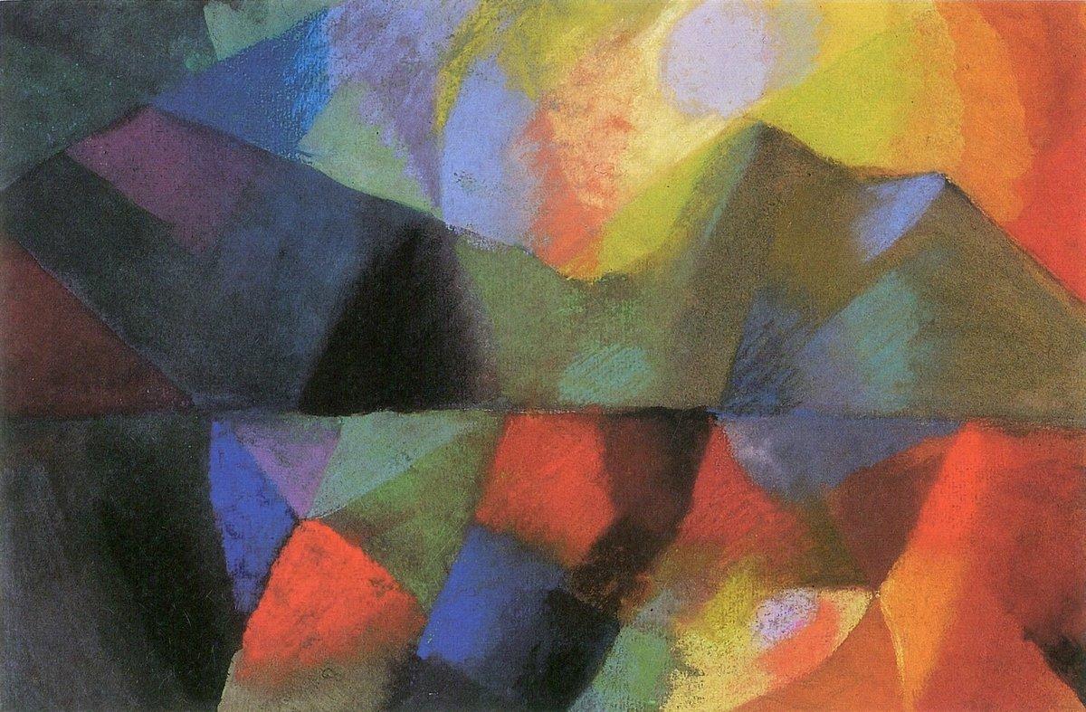 Яркие картины, картина Маке Август «Цветная композиция»Яркие картины<br>Репродукция на холсте или бумаге. Любого нужного вам размера. В раме или без. Подвес в комплекте. Трехслойная надежная упаковка. Доставим в любую точку России. Вам осталось только повесить картину на стену!<br>