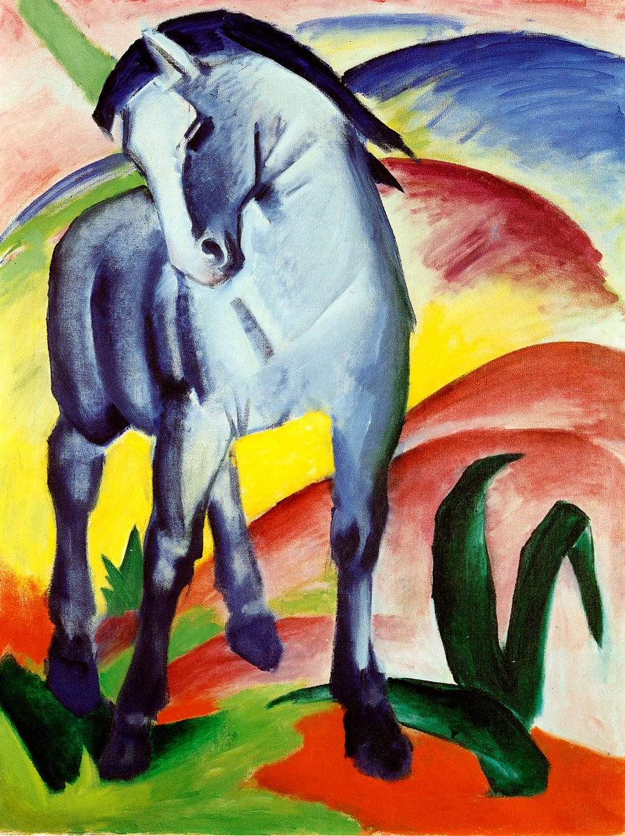 Яркие картины, картина Марк Франц «Голубая лошадь»Яркие картины<br>Репродукция на холсте или бумаге. Любого нужного вам размера. В раме или без. Подвес в комплекте. Трехслойная надежная упаковка. Доставим в любую точку России. Вам осталось только повесить картину на стену!<br>