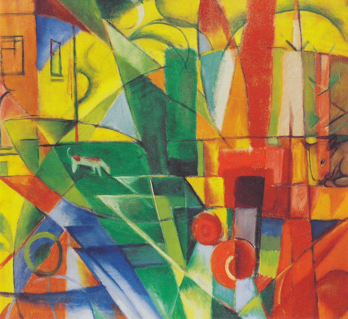 Яркие картины, картина Марк Франц «Пейзаж с домом собакой и коровой»Яркие картины<br>Репродукция на холсте или бумаге. Любого нужного вам размера. В раме или без. Подвес в комплекте. Трехслойная надежная упаковка. Доставим в любую точку России. Вам осталось только повесить картину на стену!<br>