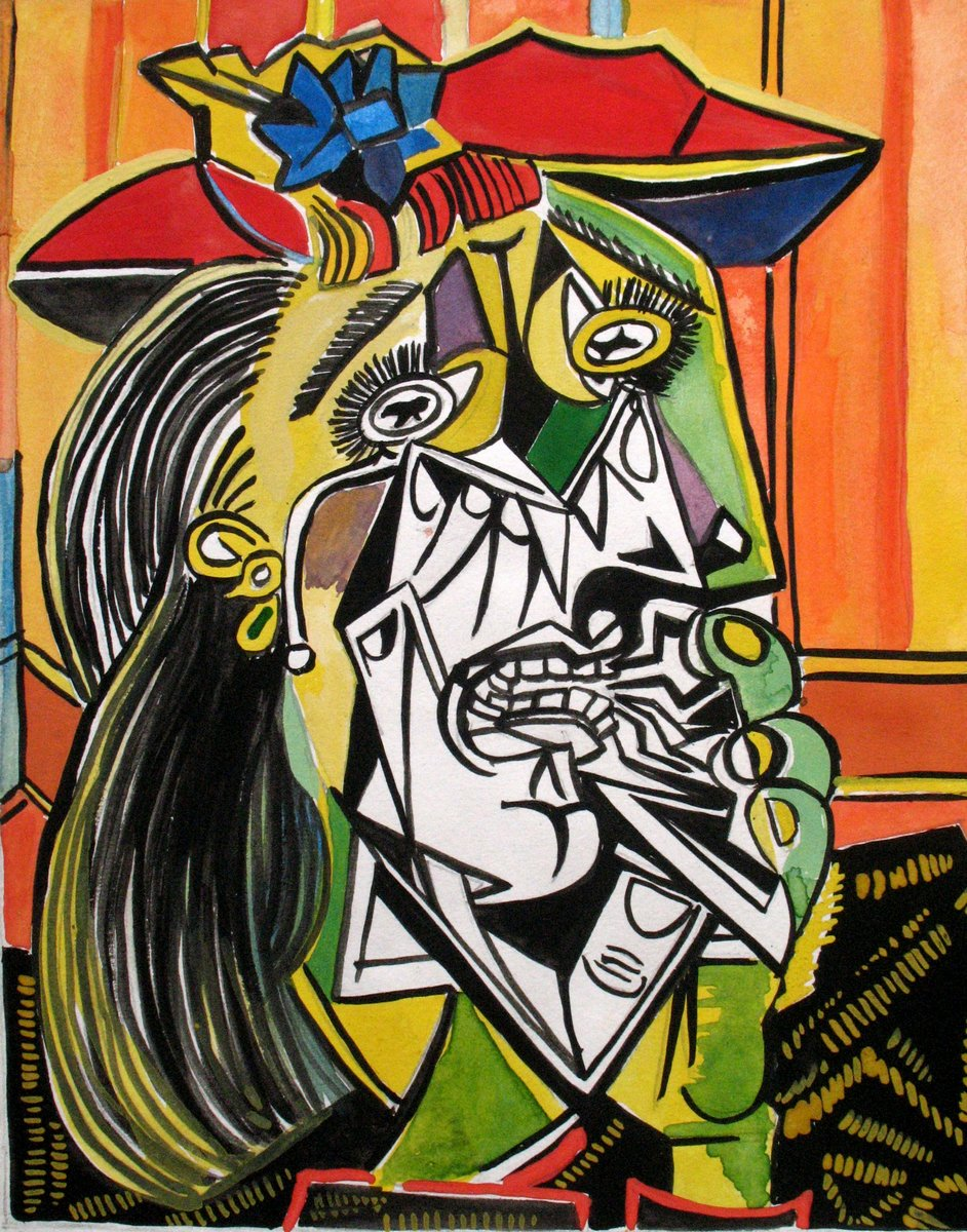 Яркие картины, картина Пикассо Пабло «Плачущая женщина»Яркие картины<br>Репродукция на холсте или бумаге. Любого нужного вам размера. В раме или без. Подвес в комплекте. Трехслойная надежная упаковка. Доставим в любую точку России. Вам осталось только повесить картину на стену!<br>