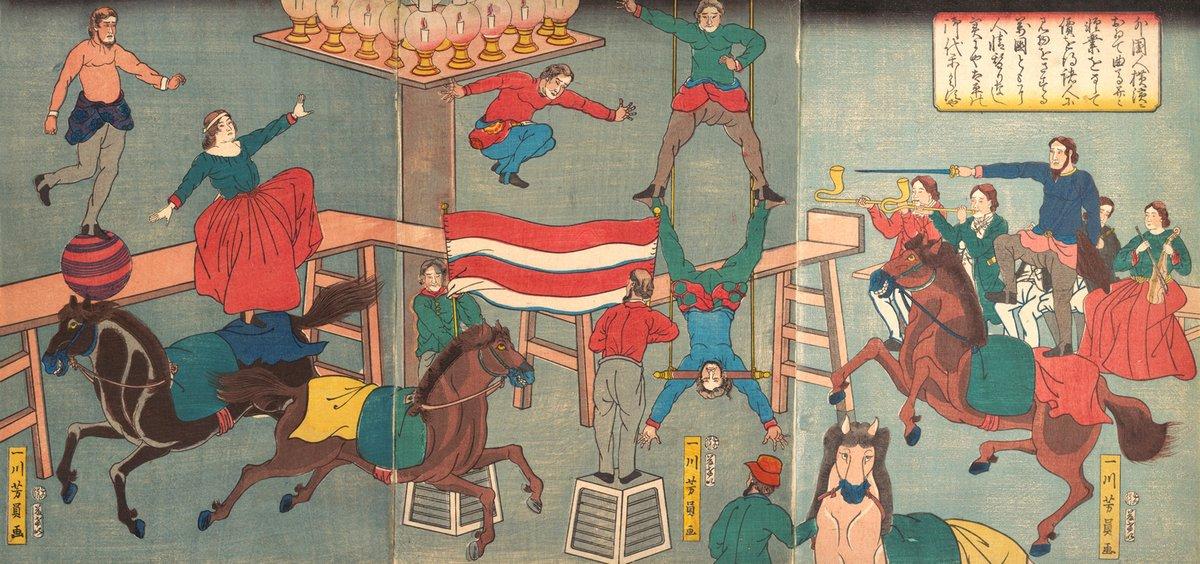 Цирк в живописи и графике, картина Йошикацу Утагава «Цирк в Йокогаме»Цирк в живописи и графике<br>Репродукция на холсте или бумаге. Любого нужного вам размера. В раме или без. Подвес в комплекте. Трехслойная надежная упаковка. Доставим в любую точку России. Вам осталось только повесить картину на стену!<br>