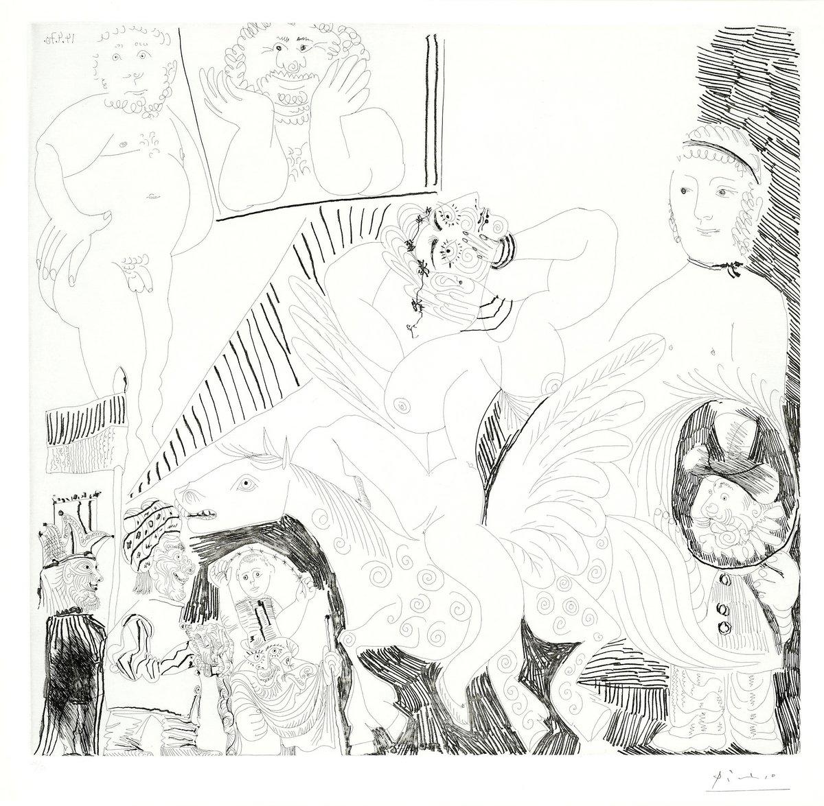 Цирк в живописи и графике, картина Пикассо Пабло «Арена цирка, крылатый конь»Цирк в живописи и графике<br>Репродукция на холсте или бумаге. Любого нужного вам размера. В раме или без. Подвес в комплекте. Трехслойная надежная упаковка. Доставим в любую точку России. Вам осталось только повесить картину на стену!<br>