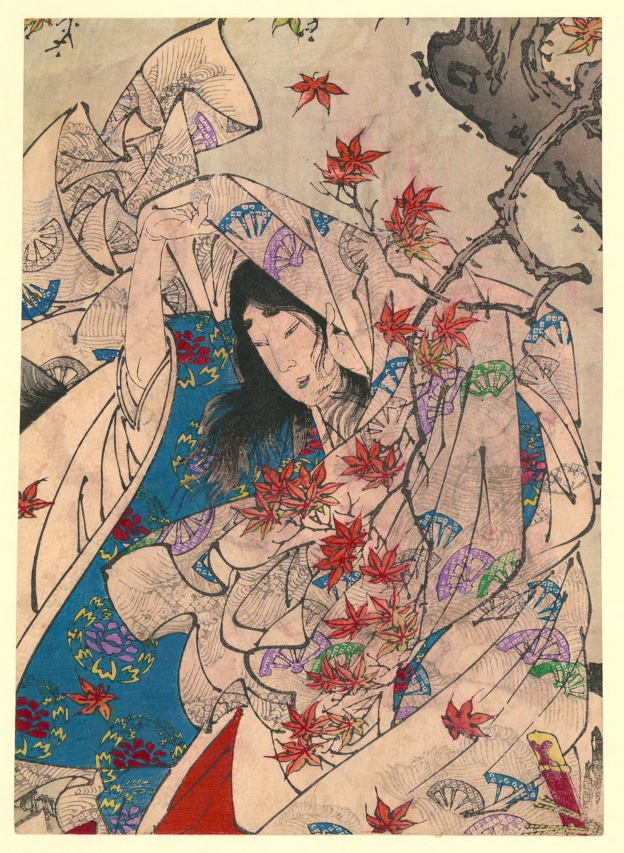 Японская гравюра Японские гравюры, Человек  в кимоно, стоящий под кленовым деревом в Сумиеси, 20x27 см, на бумагеЦукиока Йоситоси<br>Постер на холсте или бумаге. Любого нужного вам размера. В раме или без. Подвес в комплекте. Трехслойная надежная упаковка. Доставим в любую точку России. Вам осталось только повесить картину на стену!<br>
