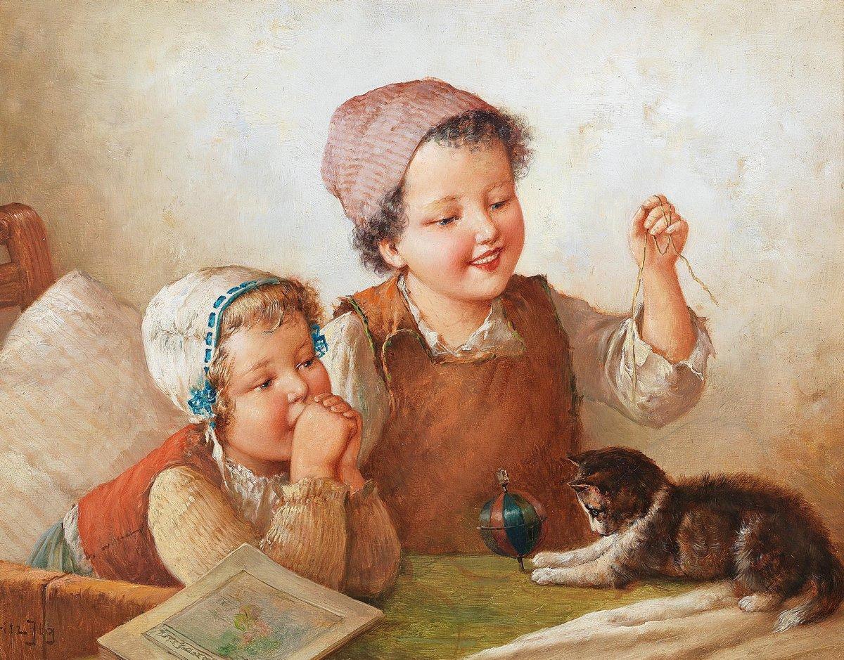 Дети в живописи, картина Ильг Фриц «Дети с кошкой»Дети в живописи<br>Репродукция на холсте или бумаге. Любого нужного вам размера. В раме или без. Подвес в комплекте. Трехслойная надежная упаковка. Доставим в любую точку России. Вам осталось только повесить картину на стену!<br>