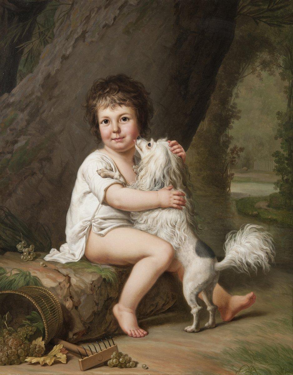 Дети в живописи, картина Неизвестный худоджник «Мальчик с собакой»Дети в живописи<br>Репродукция на холсте или бумаге. Любого нужного вам размера. В раме или без. Подвес в комплекте. Трехслойная надежная упаковка. Доставим в любую точку России. Вам осталось только повесить картину на стену!<br>