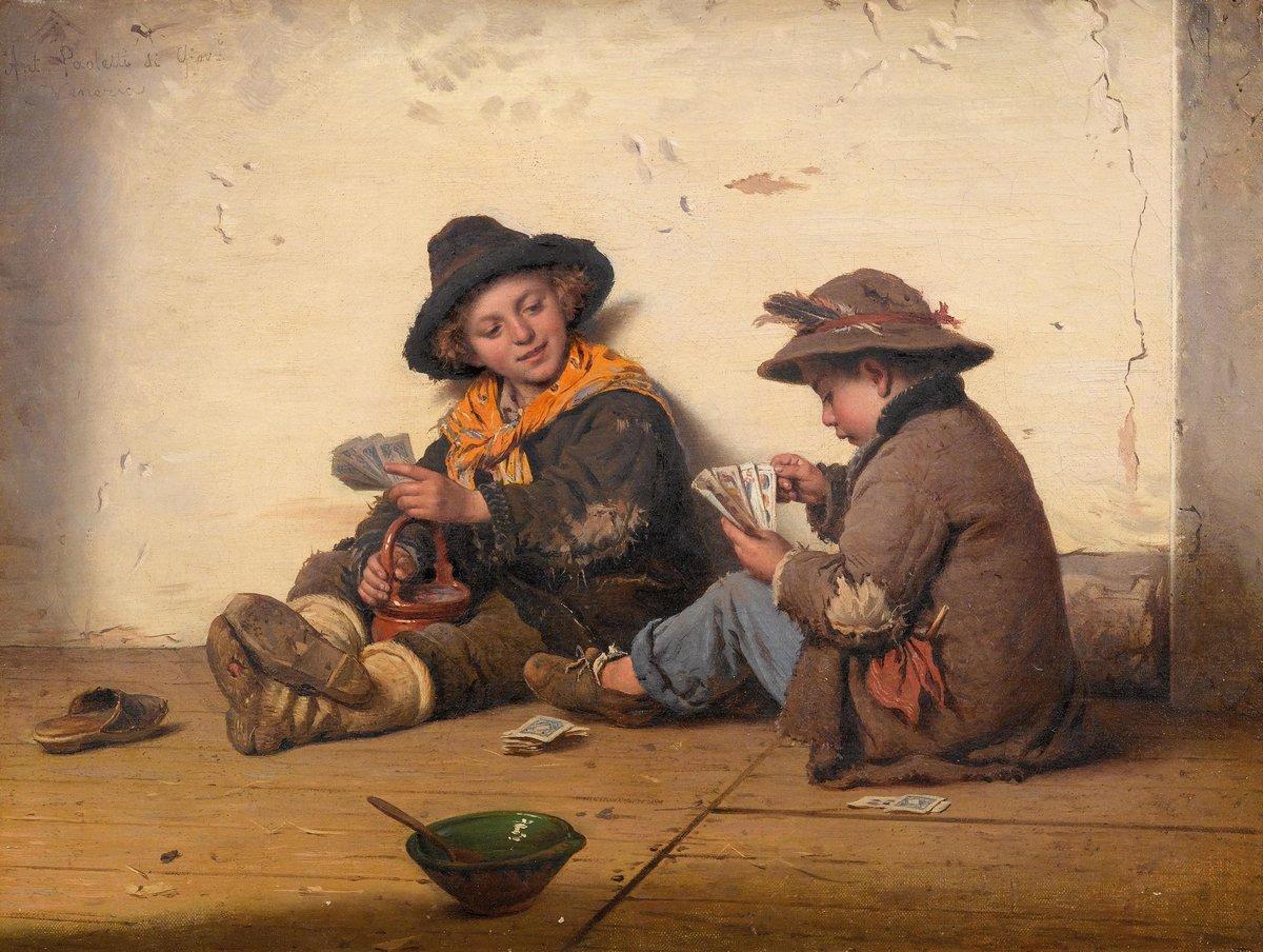 Дети в живописи, картина Поулетти Антонио «Дети, играющие в карты»Дети в живописи<br>Репродукция на холсте или бумаге. Любого нужного вам размера. В раме или без. Подвес в комплекте. Трехслойная надежная упаковка. Доставим в любую точку России. Вам осталось только повесить картину на стену!<br>