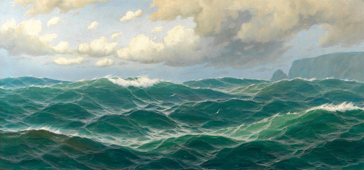 Пейзаж морской Йенсен Макс «Волны»Пейзаж морской<br>Репродукция на холсте или бумаге. Любого нужного вам размера. В раме или без. Подвес в комплекте. Трехслойная надежная упаковка. Доставим в любую точку России. Вам осталось только повесить картину на стену!<br>