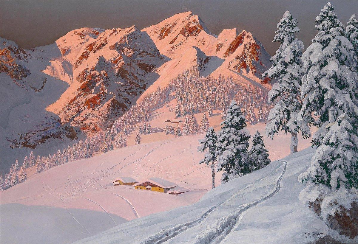 Пейзажи Арнеггер Алоис «Зима в горах», 29x20 см, на бумагеПейзаж горный и водопады<br>Постер на холсте или бумаге. Любого нужного вам размера. В раме или без. Подвес в комплекте. Трехслойная надежная упаковка. Доставим в любую точку России. Вам осталось только повесить картину на стену!<br>