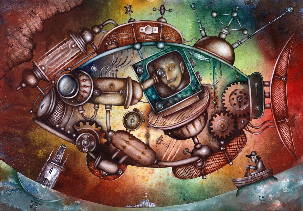 Стимпанк, картина Рыба-подводная лодкаСтимпанк<br>Репродукция на холсте или бумаге. Любого нужного вам размера. В раме или без. Подвес в комплекте. Трехслойная надежная упаковка. Доставим в любую точку России. Вам осталось только повесить картину на стену!<br>