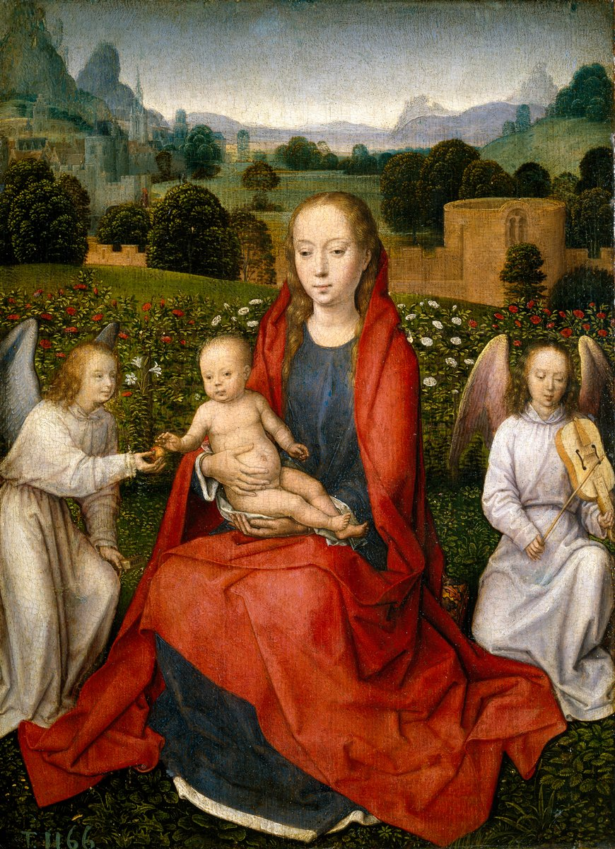 Мемлинг Ганс, картина Мадонна с младенцем в розовом саду между двумя ангеламиМемлинг Ганс<br>Репродукция на холсте или бумаге. Любого нужного вам размера. В раме или без. Подвес в комплекте. Трехслойная надежная упаковка. Доставим в любую точку России. Вам осталось только повесить картину на стену!<br>