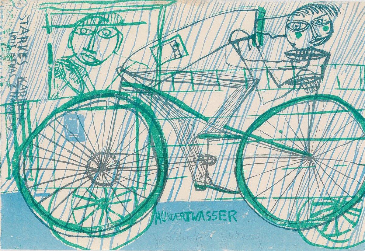 Художники, картина Велосипедист под дождем, 29x20 см, на бумагеХундертвассер Фриденсрайх<br>Постер на холсте или бумаге. Любого нужного вам размера. В раме или без. Подвес в комплекте. Трехслойная надежная упаковка. Доставим в любую точку России. Вам осталось только повесить картину на стену!<br>