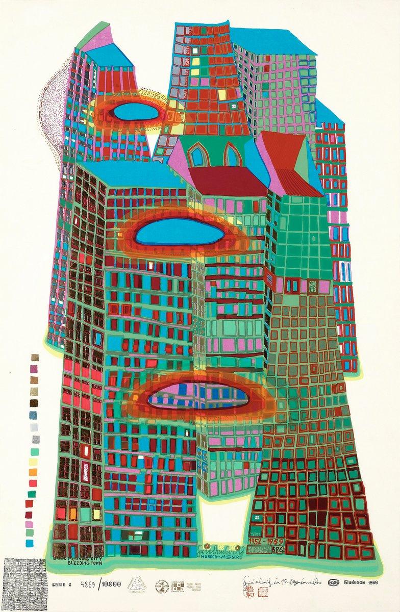 Художники, картина Доброе утро, город, 20x31 см, на бумагеХундертвассер Фриденсрайх<br>Постер на холсте или бумаге. Любого нужного вам размера. В раме или без. Подвес в комплекте. Трехслойная надежная упаковка. Доставим в любую точку России. Вам осталось только повесить картину на стену!<br>
