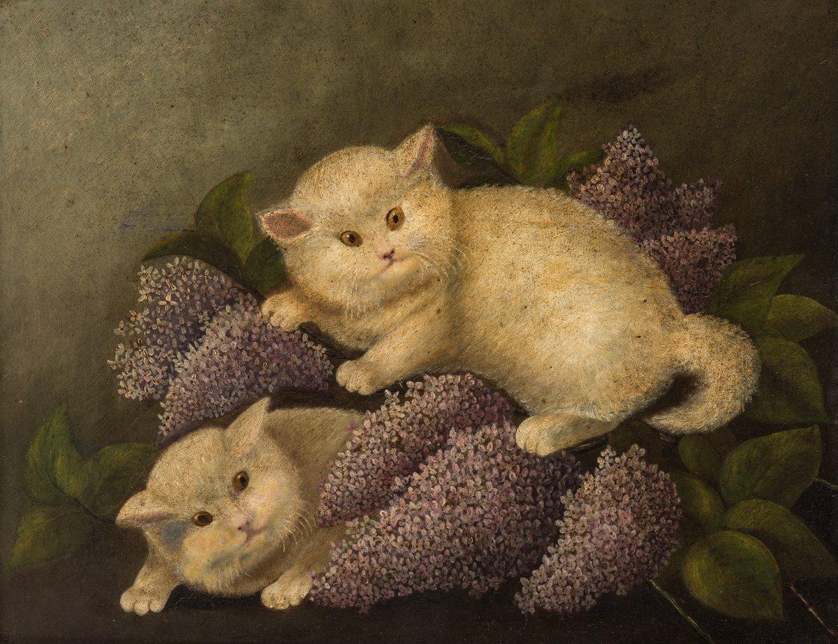 Животные, картина Американский примитивист «Кошки»Животные<br>Репродукция на холсте или бумаге. Любого нужного вам размера. В раме или без. Подвес в комплекте. Трехслойная надежная упаковка. Доставим в любую точку России. Вам осталось только повесить картину на стену!<br>
