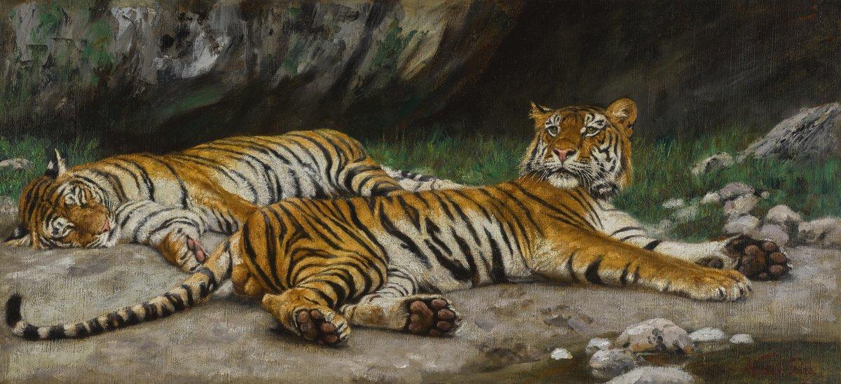 Животные, картина Вастаг Геза «Тигры»Животные<br>Репродукция на холсте или бумаге. Любого нужного вам размера. В раме или без. Подвес в комплекте. Трехслойная надежная упаковка. Доставим в любую точку России. Вам осталось только повесить картину на стену!<br>