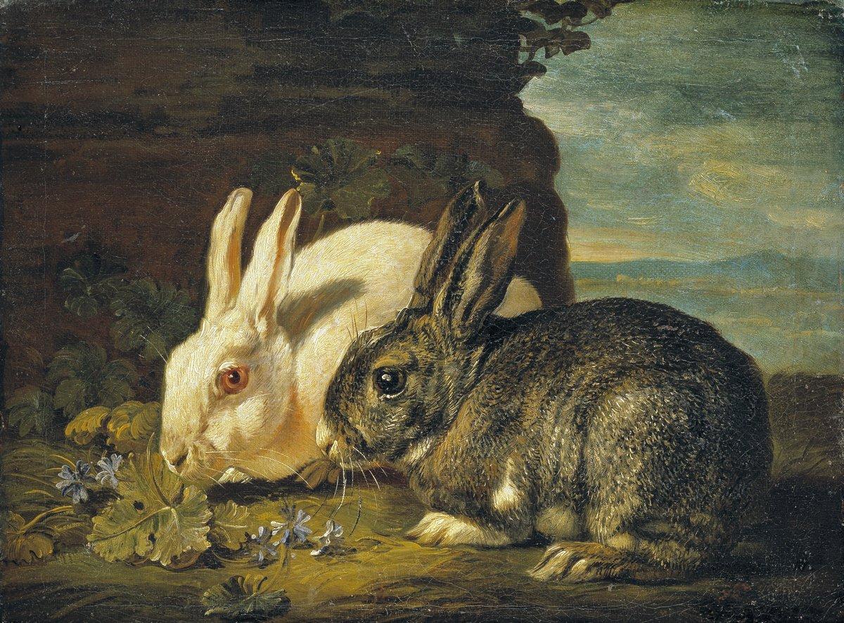 Животные, картина Де Коник Давид «Два кролика»Животные<br>Репродукция на холсте или бумаге. Любого нужного вам размера. В раме или без. Подвес в комплекте. Трехслойная надежная упаковка. Доставим в любую точку России. Вам осталось только повесить картину на стену!<br>
