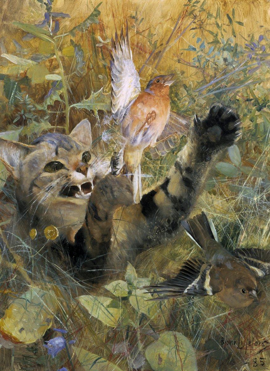 Животные, картина Лильефорс Бруно «Кошка и зяблик»Животные<br>Репродукция на холсте или бумаге. Любого нужного вам размера. В раме или без. Подвес в комплекте. Трехслойная надежная упаковка. Доставим в любую точку России. Вам осталось только повесить картину на стену!<br>