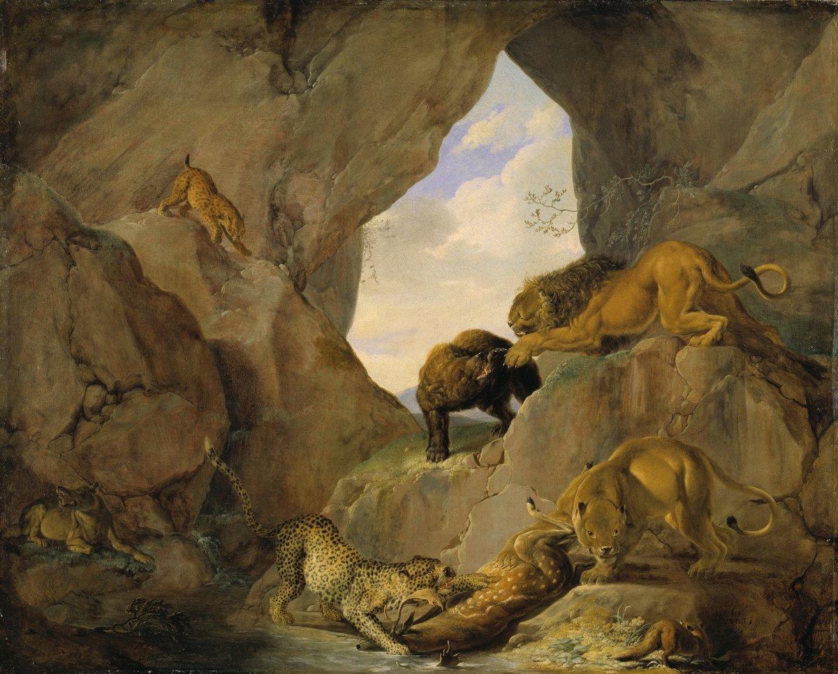 Животные, картина Рутхарт Карл «Дикие животные в пещере»Животные<br>Репродукция на холсте или бумаге. Любого нужного вам размера. В раме или без. Подвес в комплекте. Трехслойная надежная упаковка. Доставим в любую точку России. Вам осталось только повесить картину на стену!<br>