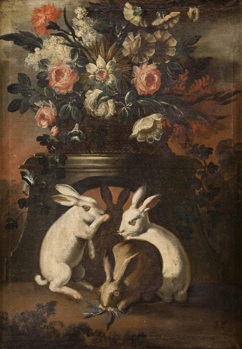 Животные, картина Фон Тамм Франц «Три кролика и букет цветов»Животные<br>Репродукция на холсте или бумаге. Любого нужного вам размера. В раме или без. Подвес в комплекте. Трехслойная надежная упаковка. Доставим в любую точку России. Вам осталось только повесить картину на стену!<br>