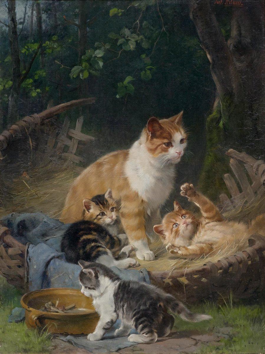 Животные, картина Юлиус Адам «Кошка с котятами»Животные<br>Репродукция на холсте или бумаге. Любого нужного вам размера. В раме или без. Подвес в комплекте. Трехслойная надежная упаковка. Доставим в любую точку России. Вам осталось только повесить картину на стену!<br>