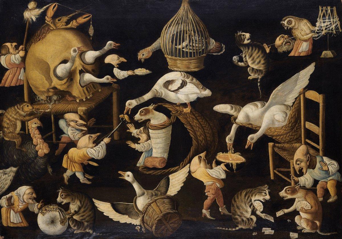 Птицы, картина Мастер плодородия яиц «Гротескная сцена с животными»Птицы<br>Репродукция на холсте или бумаге. Любого нужного вам размера. В раме или без. Подвес в комплекте. Трехслойная надежная упаковка. Доставим в любую точку России. Вам осталось только повесить картину на стену!<br>