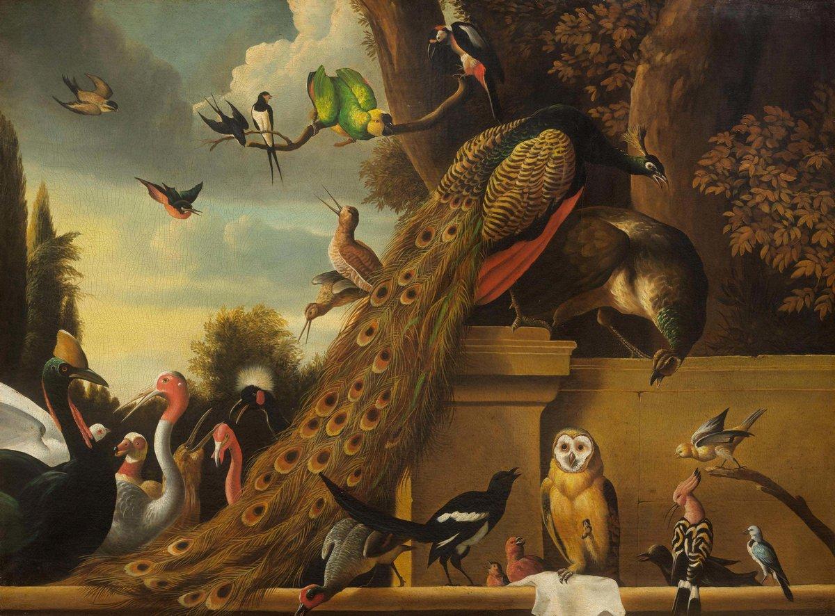 Птицы, картина Последоватьеть Мельхиора ДХондекотера «Сбор птиц в пейзаже»Птицы<br>Репродукция на холсте или бумаге. Любого нужного вам размера. В раме или без. Подвес в комплекте. Трехслойная надежная упаковка. Доставим в любую точку России. Вам осталось только повесить картину на стену!<br>